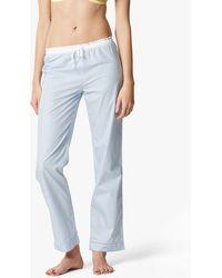 Maison Lejaby Cotton Striped Pyjama Bottoms - Blue
