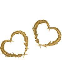Alex Monroe - 22ct Gold Vermeil Feather Heart Stud Earrings - Lyst