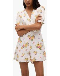 Mango Floral Print Jumpsuit - White