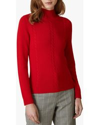 Jaeger Wool Cashmere Cable Knit Jumper - Red