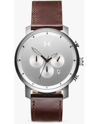 MVMT Chrono Brown Leather Strap Watch 45mm