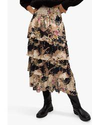 Mango Ruffle Floral Midi Skirt - Black