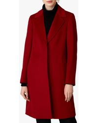 Jaeger Wool Single Breasted A-line Coat - Red