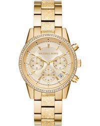 Michael Kors - Women's Ritz Crystal Chronograph Date Bracelet Strap Watch - Lyst
