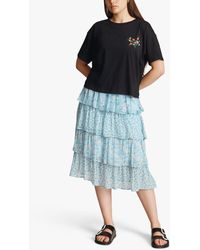 Ghost Thea Floral Tiered Midi Skirt - Blue