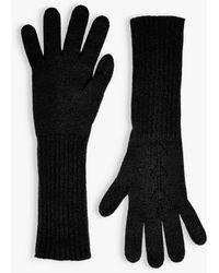 Brora Pointelle Cashmere Gloves - Black