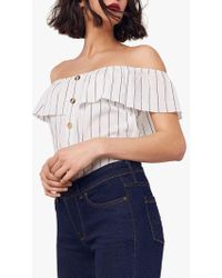 Oasis Bardot Linen Look Button Top - Multicolor