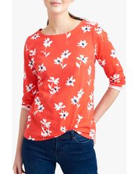 Joules Harbour Floral Cotton Top - Red
