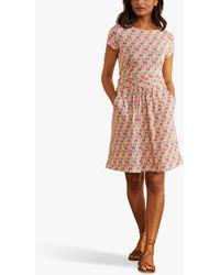 Boden Amelie Jersey Floral Knee Length Dress - Pink