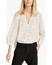 Nrby Lucille Spot Print V-neck Silk Shirt - White