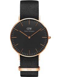 Daniel Wellington - Dw00100150 Unisex Cornwall Fabric Strap Watch - Lyst