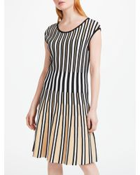 Marc Cain - Knitted Pleated Striped Dress - Lyst