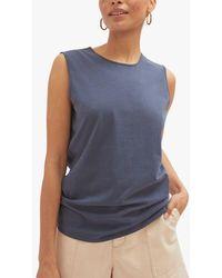 Jigsaw Supima Cotton Sleeveless T-shirt - Blue
