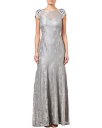 Adrianna Papell - Long Metallic Lace Dress - Lyst