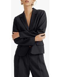 Jigsaw Satin Button Blazer Jacket - Black