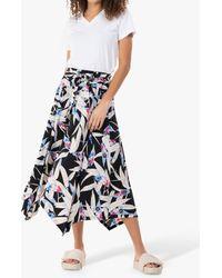 Jolie Moi Cady Leaf Print Maxi Skirt - Black
