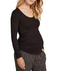 Isabella Oliver - Scoop Neck Ruched Stripe Top - Lyst