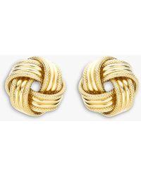 Ib&b 9ct Gold Knot Earrings - Metallic