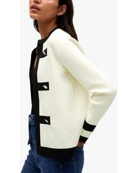 Mango Decorative Button Cardigan - White