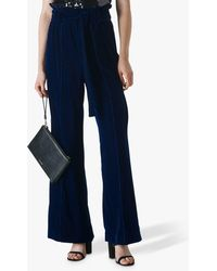 Whistles Tie Waist Velvet Trousers - Blue