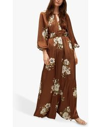 Mango Floral Print Wide Leg Jumpsuit - Brown