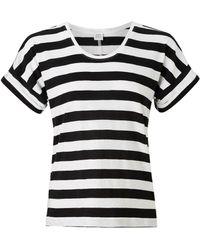 John Lewis & Partners Cotton Drop Sleeve Stripe Slub T-shirt - Black
