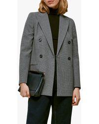 Whistles Aliza Double Breasted Blazer Jacket - Grey