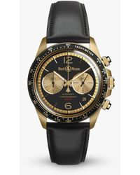 Bell & Ross Brv294-bc-br/sca Vintage Automatic Chronograph Date Leather Strap Watch - Black