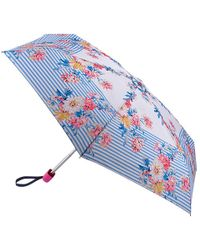 Joules - Whitstable Floral And Stripe Print Umbrella - Lyst