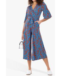 Jolie Moi Cara Floral Print Wrap Jumpsuit - Blue