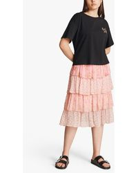 Ghost Thea Floral Tiered Midi Skirt - Pink