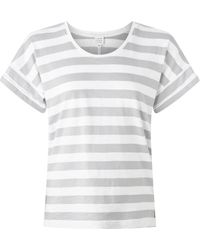 John Lewis & Partners Cotton Drop Sleeve Stripe Slub T-shirt - Grey