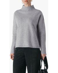 Whistles Eden Ribbed Merino Wool Knit Jumper - Grey