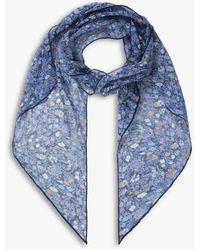 Brora Liberty Silk Floral Scarf - Blue