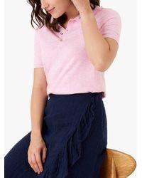 Brora Cotton Blend Knit Polo Shirt - Pink