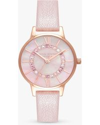Olivia Burton Wonderland Crystal Leather Strap Watch - Pink