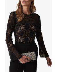 Reiss - Marion Lace Embellished Jumpsuit - Lyst