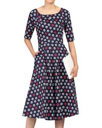 Jolie Moi Lip Print Midi Dress - Blue