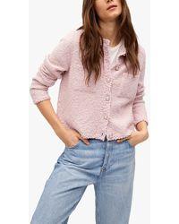 Mango Patch Pocket Tweed Cardigan - Pink