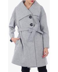 Jolie Moi Wrap Front Coat - Multicolour