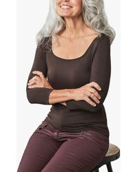 Pure Collection Jersey Square Neck Top - Brown