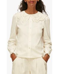 Whistles Lace Collar Cotton Blouse - White