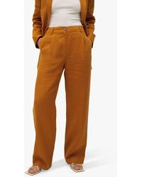 Mango Linen Straight Trousers - Brown