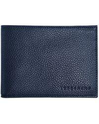 Longchamp Le Foulonné Leather Card & Coin Wallet - Blue