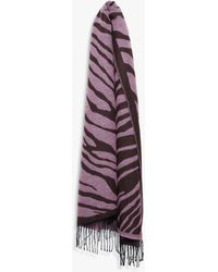 French Connection Tiger Print Jacquard Scarf - Purple