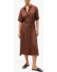 Mango Satin Midi Shirt Dress - Brown