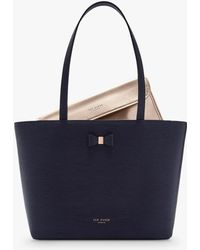 f641f2abbbd01 Ted Baker - Bow Detail Small Leather Shopper Bag - Lyst