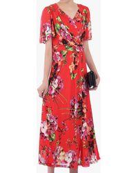 Jolie Moi Floral Print Mesh Maxi Dress - Red