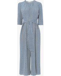 L.K.Bennett Joni Block Print Silk Jumpsuit - Blue