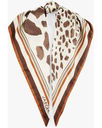 Jaeger Giraffe Square Silk Scarf - Brown